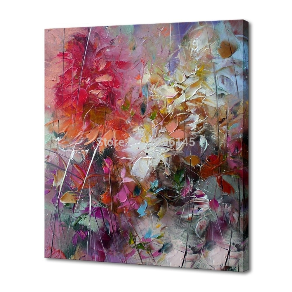 Big 100% Hand Painted Floral Purple Abstract Oil Painting Modern with regard to Wall Art Paintings (Image 11 of 20)