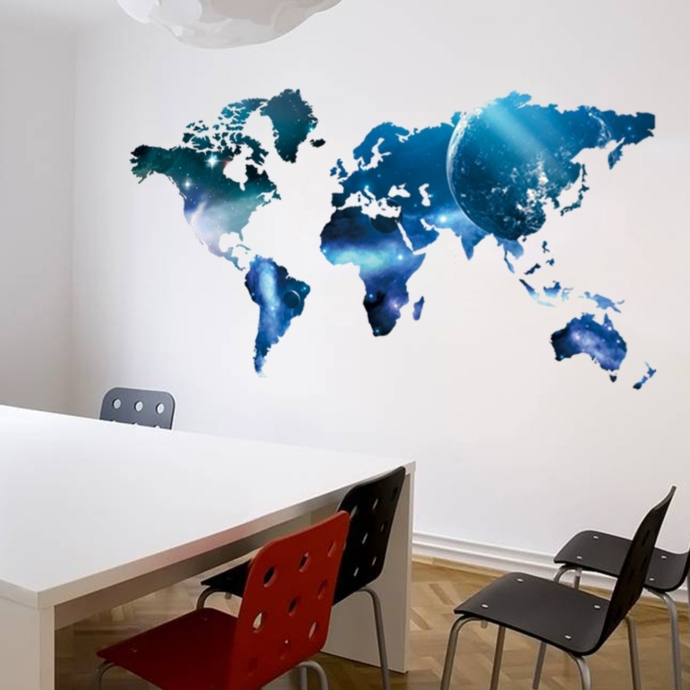 Big Global Planet Map Of The World Wall Decals Home Decor Living regarding Map Of The World Wall Art (Image 1 of 20)