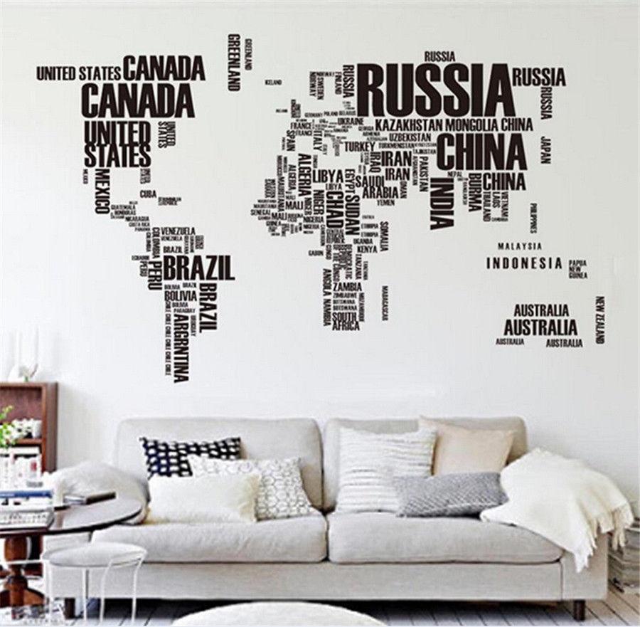 Big Global World Map Atlas Removable Vinyl Wall Art Decal Sticker Throughout Vinyl Wall Art World Map (View 9 of 20)
