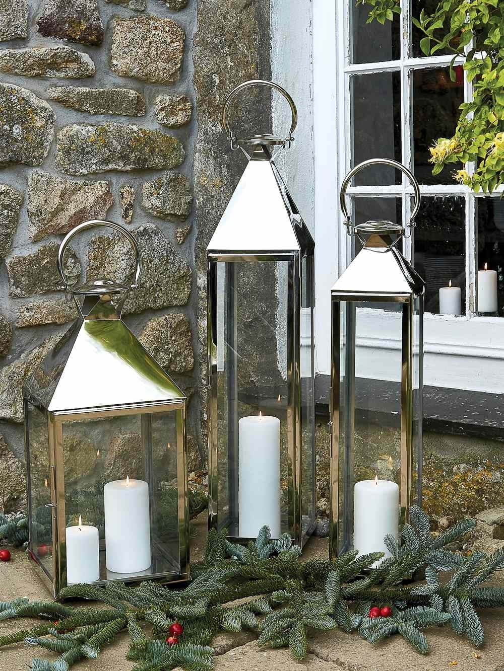 Big Stainless Steel Lanterns | Large Indoor Candle Lanterns intended for Outdoor Oversized Lanterns (Image 1 of 20)