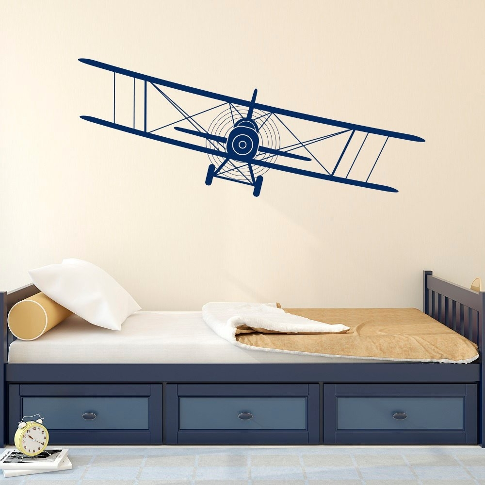 Biplane Decal Airplane Wall Decals Plane Stickers Nursery | Etsy with Aviation Wall Art (Image 11 of 20)