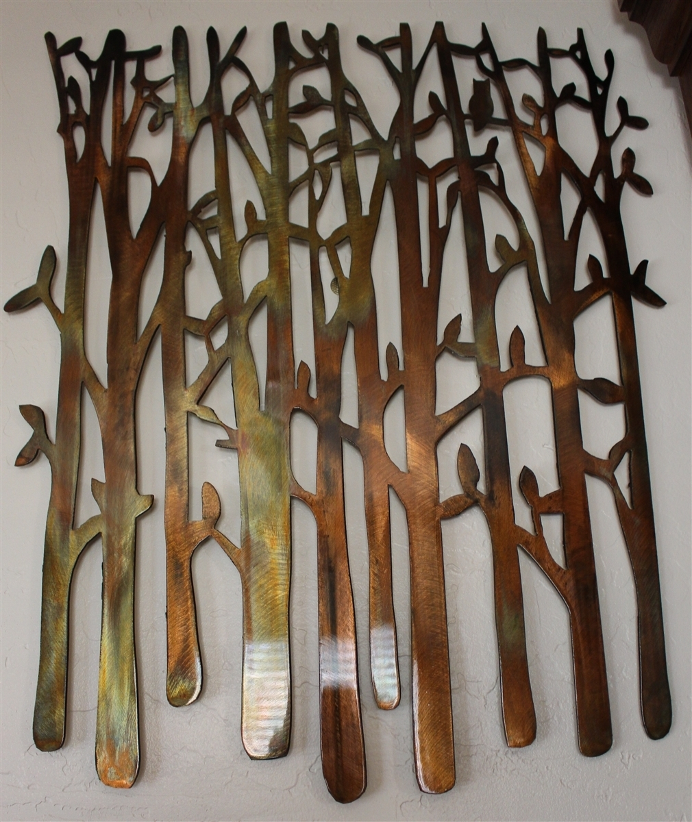 Birch Tree, Birch Tree Metal Art, Bamboo, Bird In The Trees, Bird On with Metal Wall Art (Image 8 of 20)