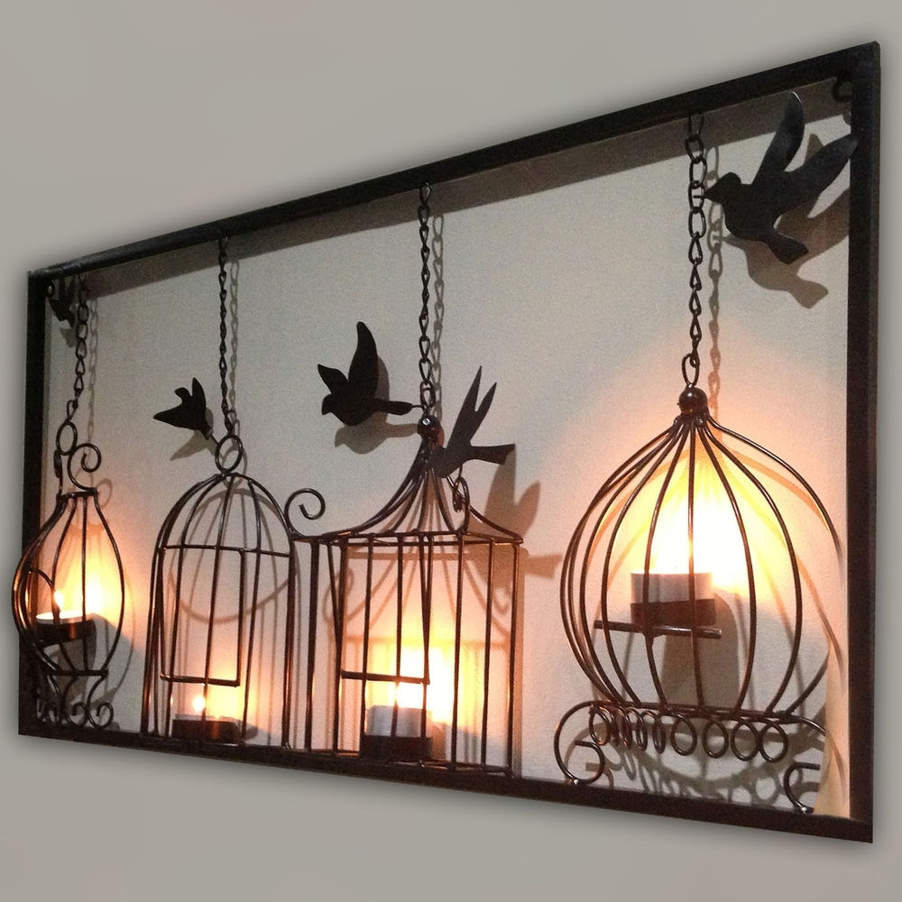 Bird Cage Design Black Metal Wall Art - Almosthomebb regarding Metal Wall Art (Image 9 of 20)