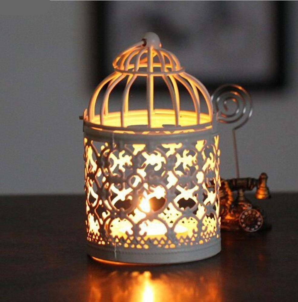 Birdcage Decorative Moroccan Lantern Votive Candle Holder Hanging throughout Moroccan Outdoor Electric Lanterns (Image 6 of 20)