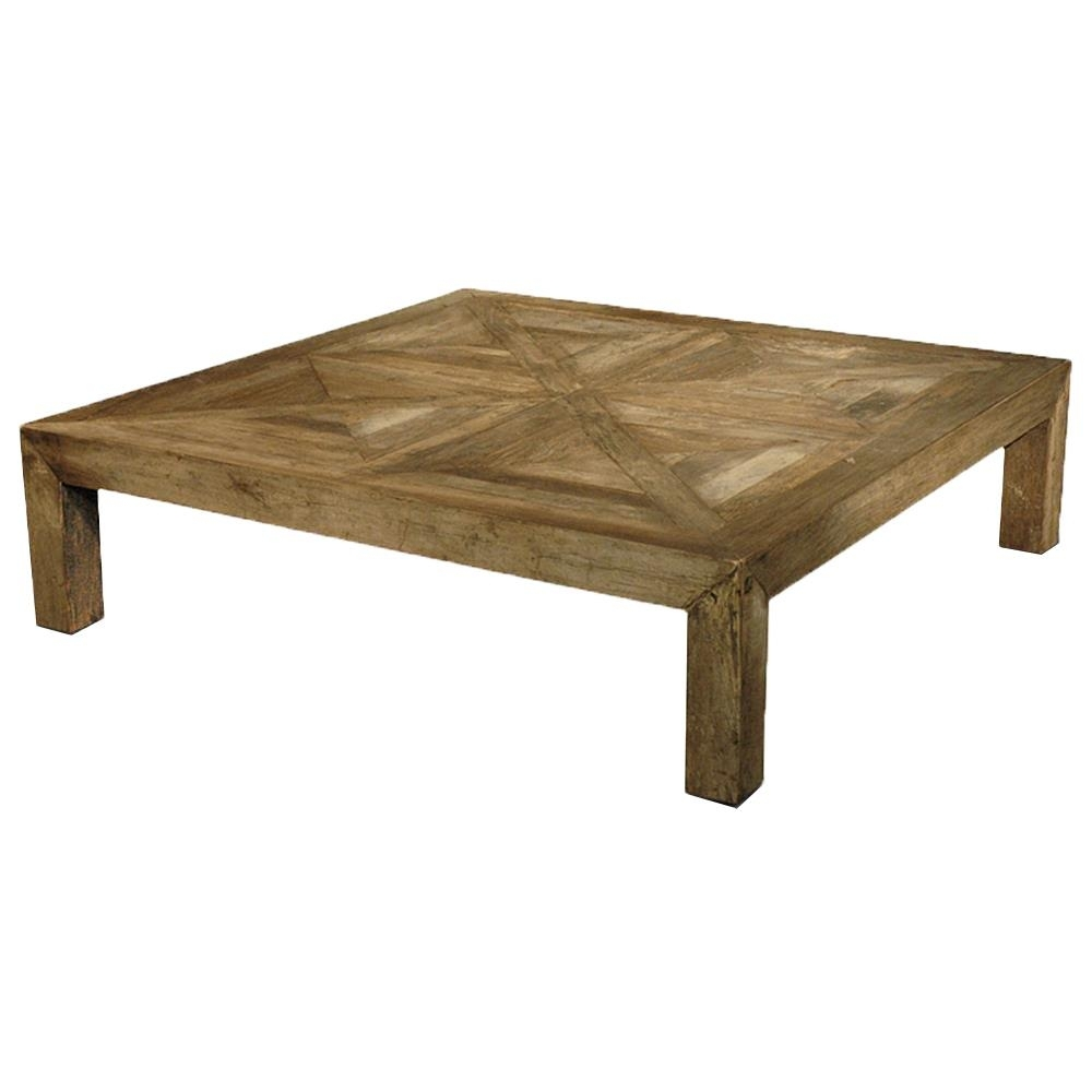 Birkby Rustic Lodge Natural Elm Parquet Square Coffee Table Intended For Parquet Coffee Tables (View 7 of 30)