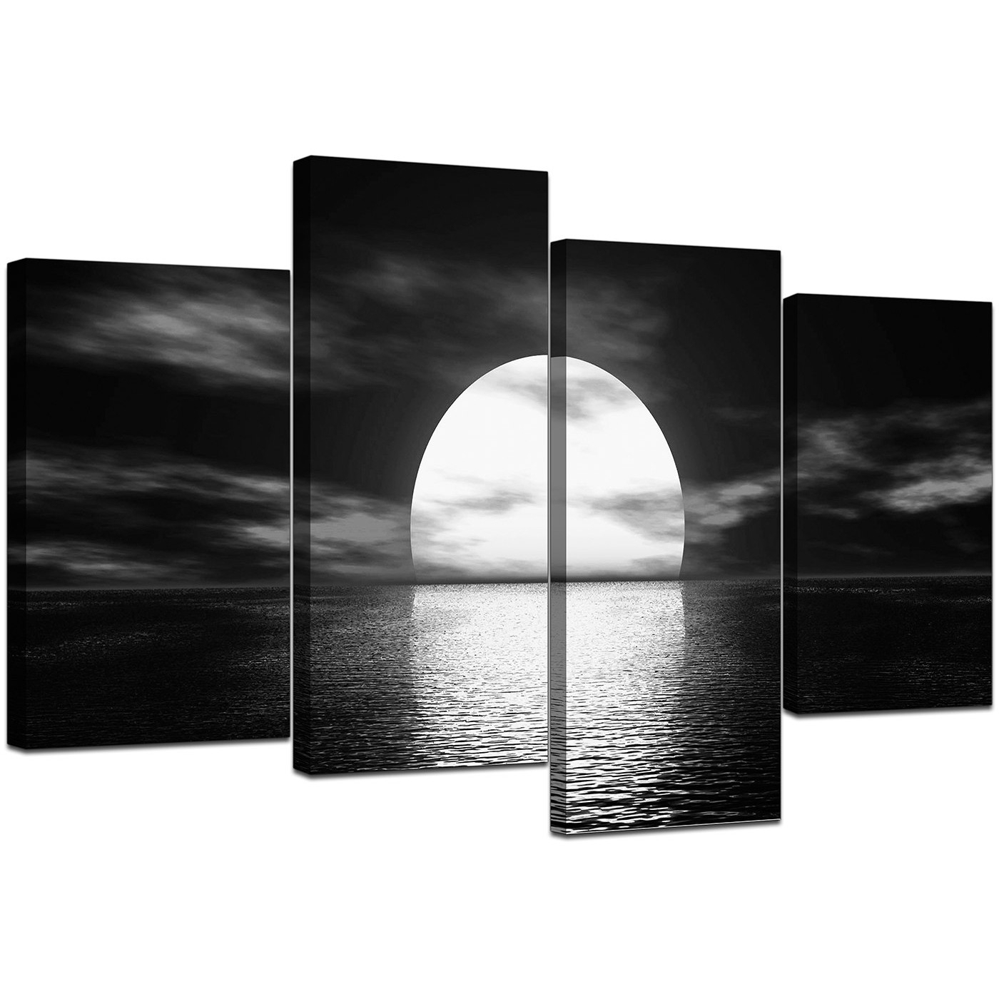 Black And White Canvas – Ocean Sunset Canvas Wall Art With Cheap Canvas Wall Art (View 7 of 20)