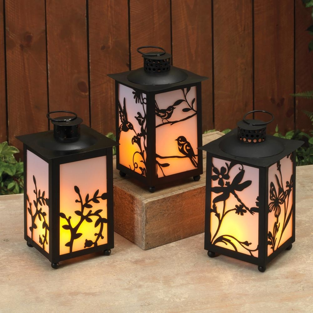 Black Battery Operated Plastic Fireglow Lanterns With Timer Feature inside Outdoor Plastic Lanterns (Image 5 of 20)