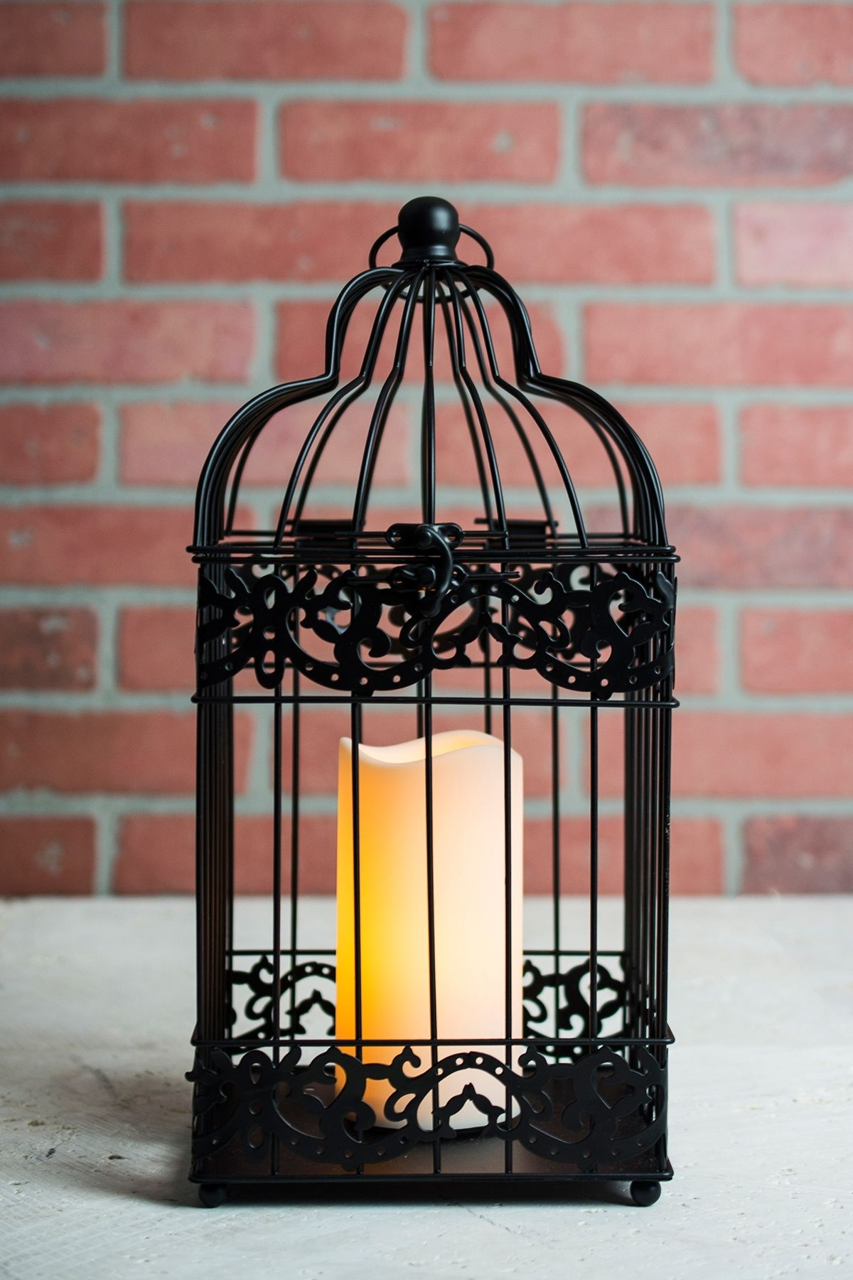 Black Bird Cage Candle Lantern Battery Operated 15In | Diy Weddings Intended For Outdoor Lanterns With Battery Operated Candles (View 4 of 20)