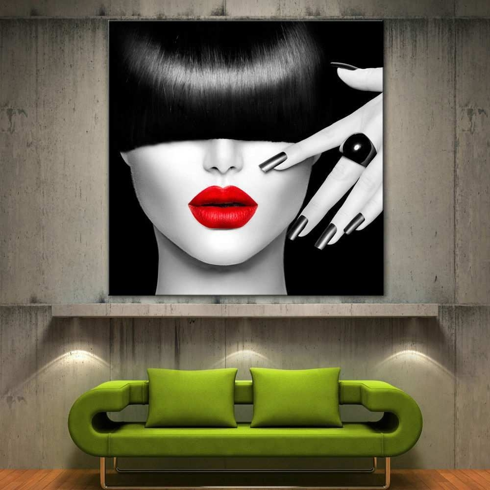 Black Canvas Art Luxury Red Lips Face Modern Canvas Home Fine Wall Inside Red And Black Canvas Wall Art (View 19 of 20)