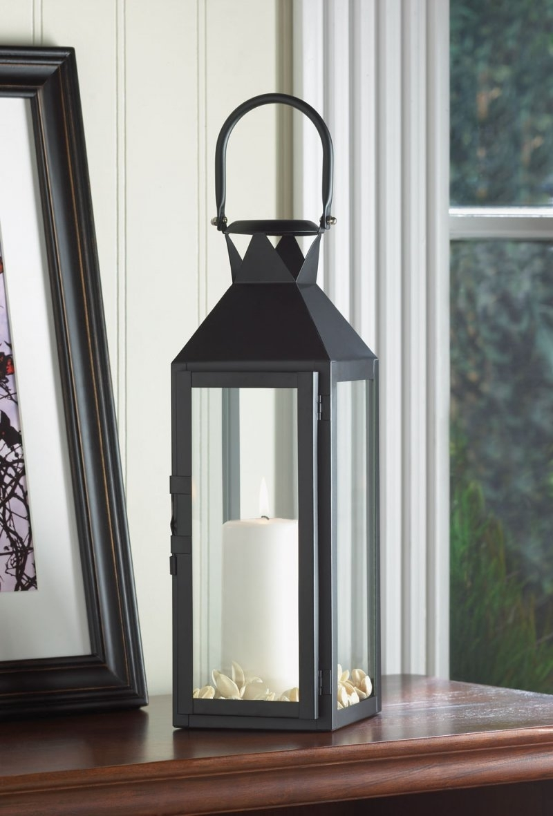 Black Contemporary Manhattan Pillar Candle Lantern Use Indoor Or Outdoor with Outdoor Lanterns For Pillars (Image 2 of 20)