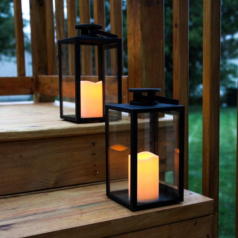 Black Glass Lanterns Set 2 Resin Candles Led Indoor Outdoor Decor Regarding Resin Outdoor Lanterns (View 18 of 20)