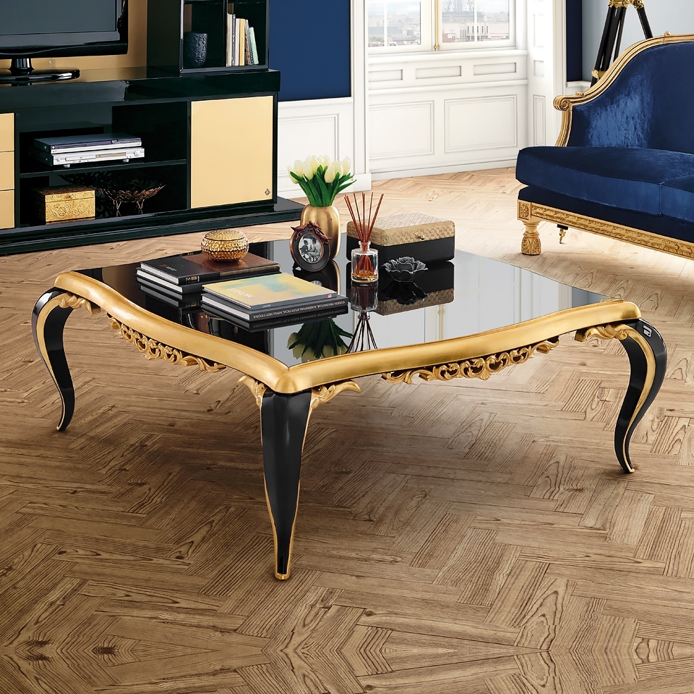 Black Lacquered Gold Leaf Coffee Table | Juliettes Interiors with regard to Gold Leaf Collection Coffee Tables (Image 7 of 30)