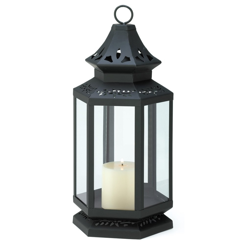 Black Lantern Candle Holder, Stagecoach Large Candle Lanterns Metal inside Outdoor Metal Lanterns for Candles (Image 3 of 20)