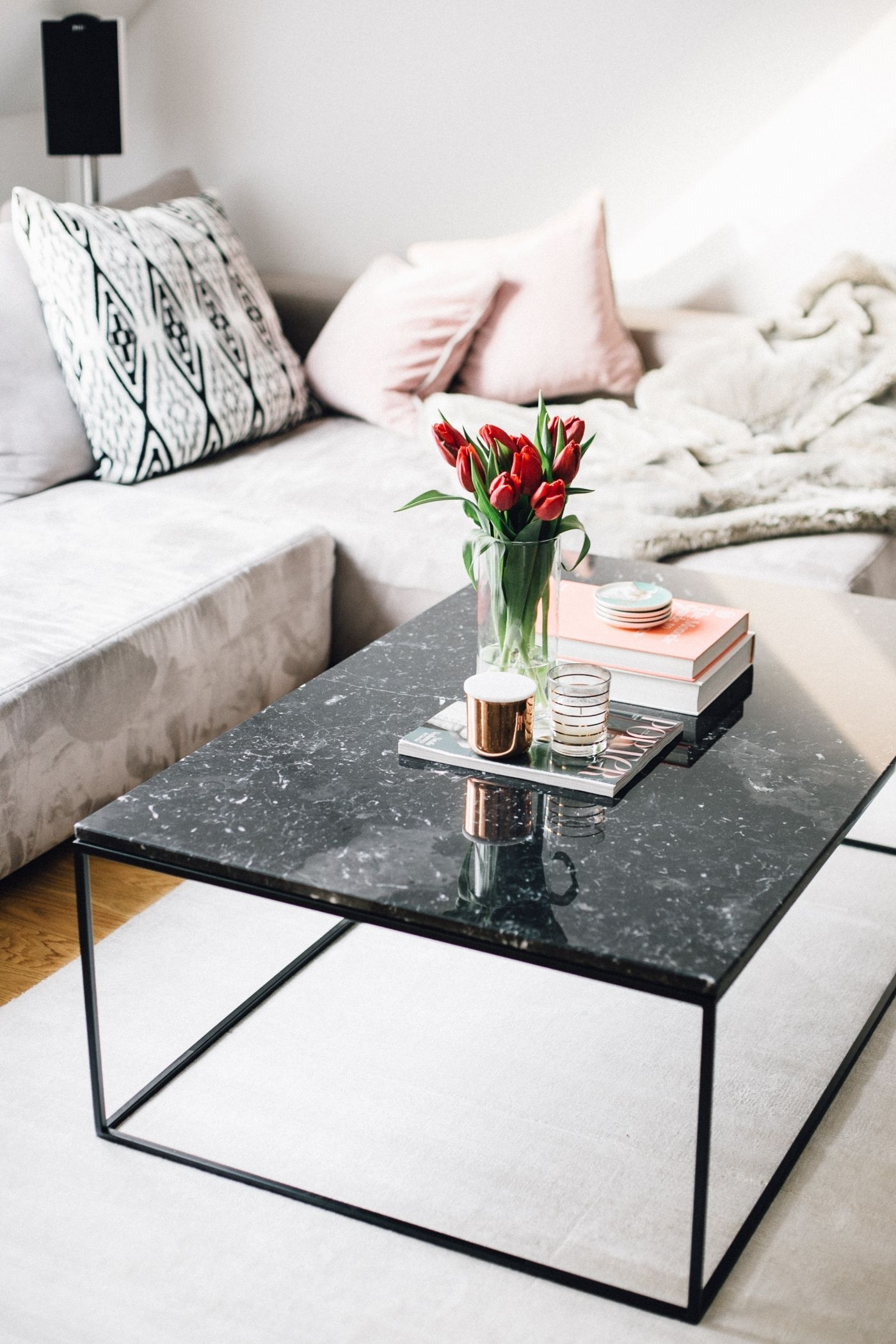 Black Marble Coffee Table Interior Inspiration | Love Daily Dose with 2 Tone Grey And White Marble Coffee Tables (Image 5 of 30)