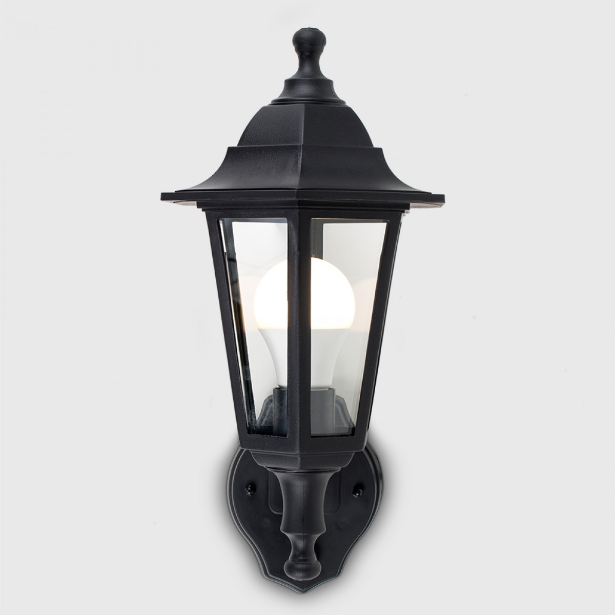 Black Mayfair Pir Ip44 Outdoor Lantern | Value Lights for Outdoor Lanterns With Pir (Image 4 of 20)