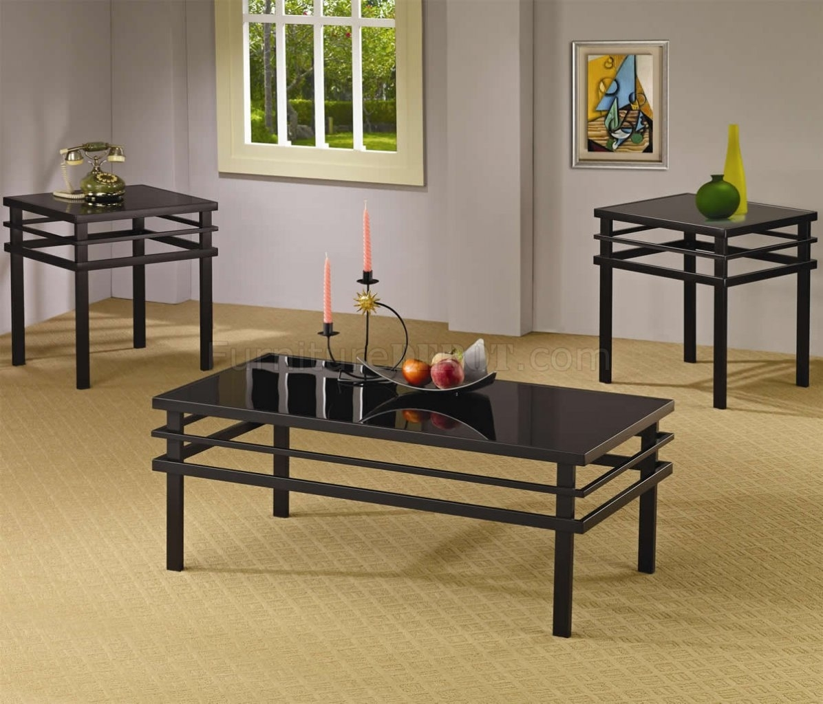 Black Metal Base & Glass Top Modern 3Pc Coffee Table Set throughout Modern Marble Iron Coffee Tables (Image 5 of 30)