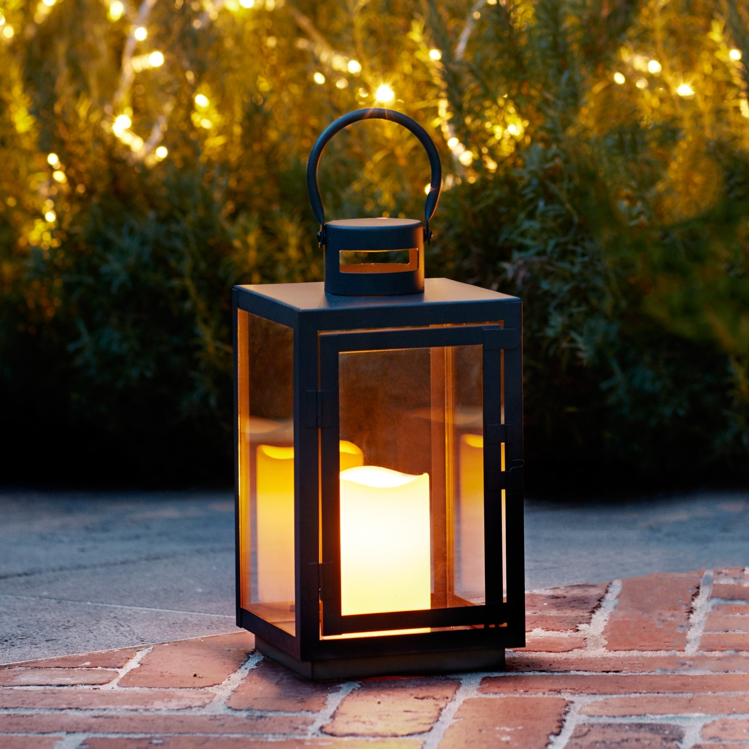 Black Metal Battery Operated Outdoor Led Flameless Flicker Candle In Outdoor Lanterns With Battery Operated Candles (View 5 of 20)