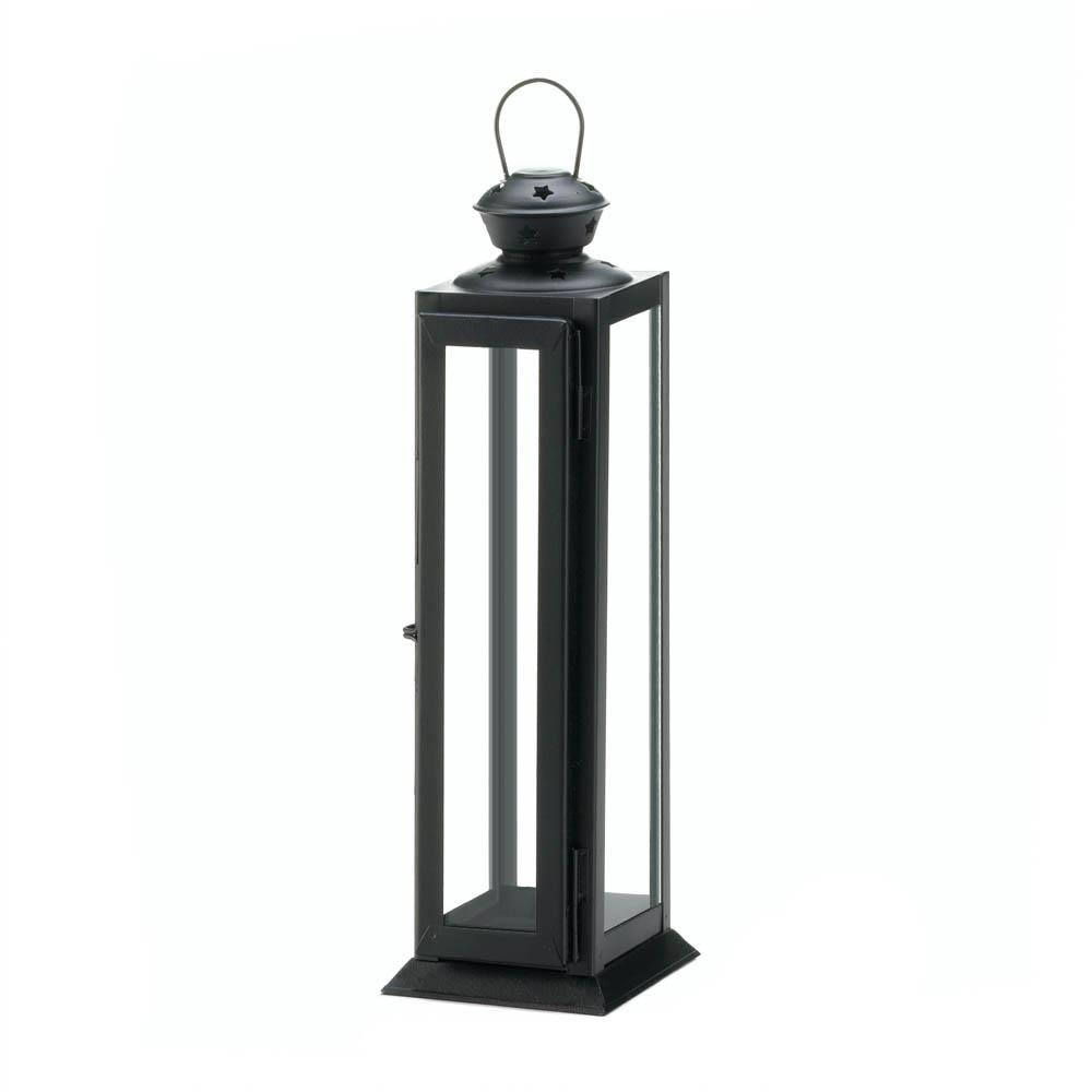 Black Metal Candle Lantern, Rustic Decorative Lanterns For Candles inside Outdoor Lanterns Without Glass (Image 3 of 20)