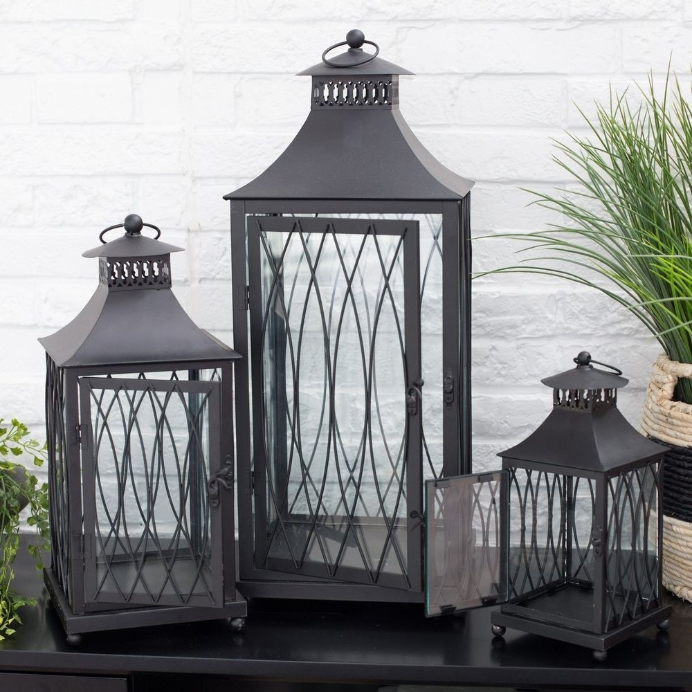 Black Metal Lantern Set 3 Candle Holder Modern Decor Contemporary Pertaining To Set Of 3 Outdoor Lanterns (View 3 of 20)
