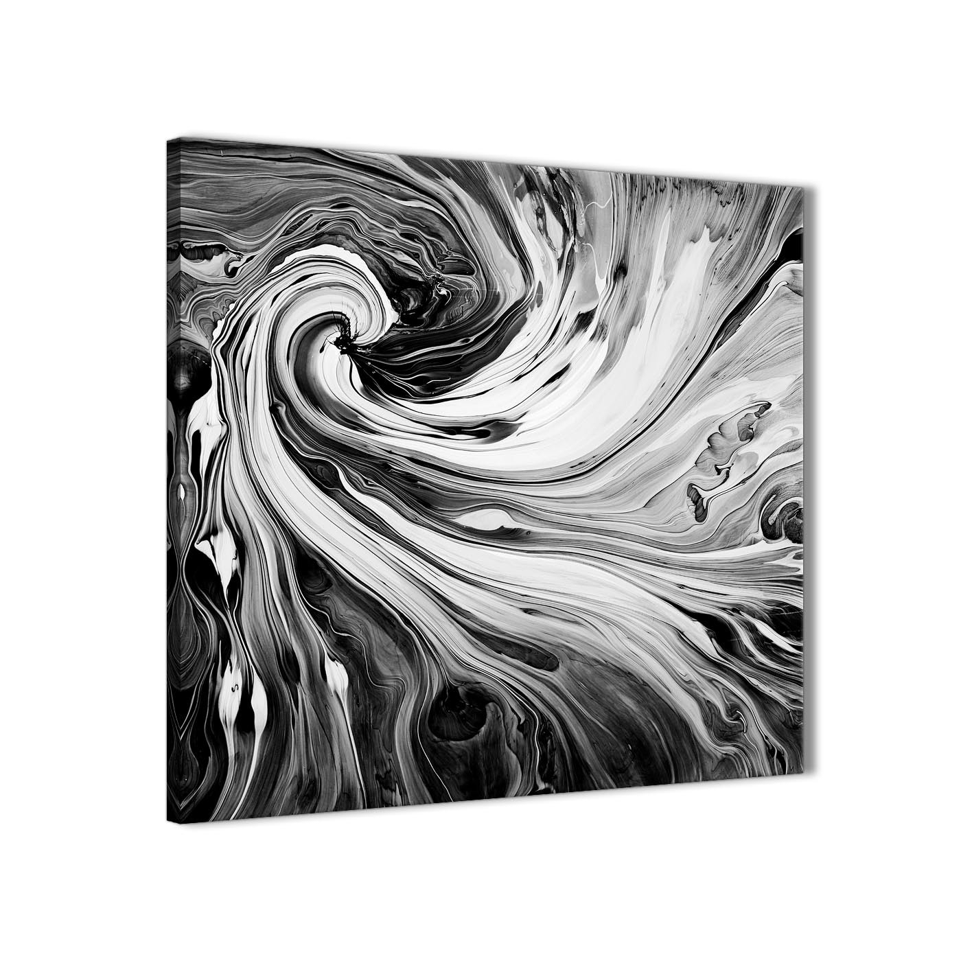 Black White Grey Swirls Modern Abstract Canvas Wall Art - 49Cm throughout Black Wall Art (Image 6 of 20)