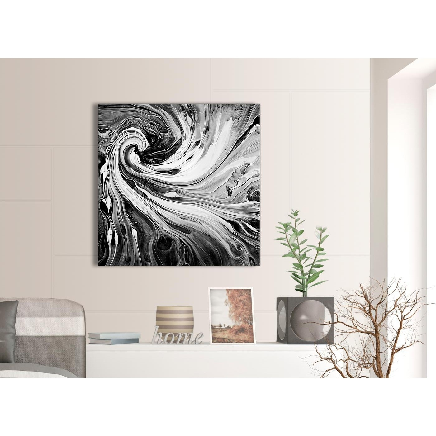 Black White Grey Swirls Modern Abstract Canvas Wall Art - 79Cm intended for Grey and White Wall Art (Image 7 of 20)