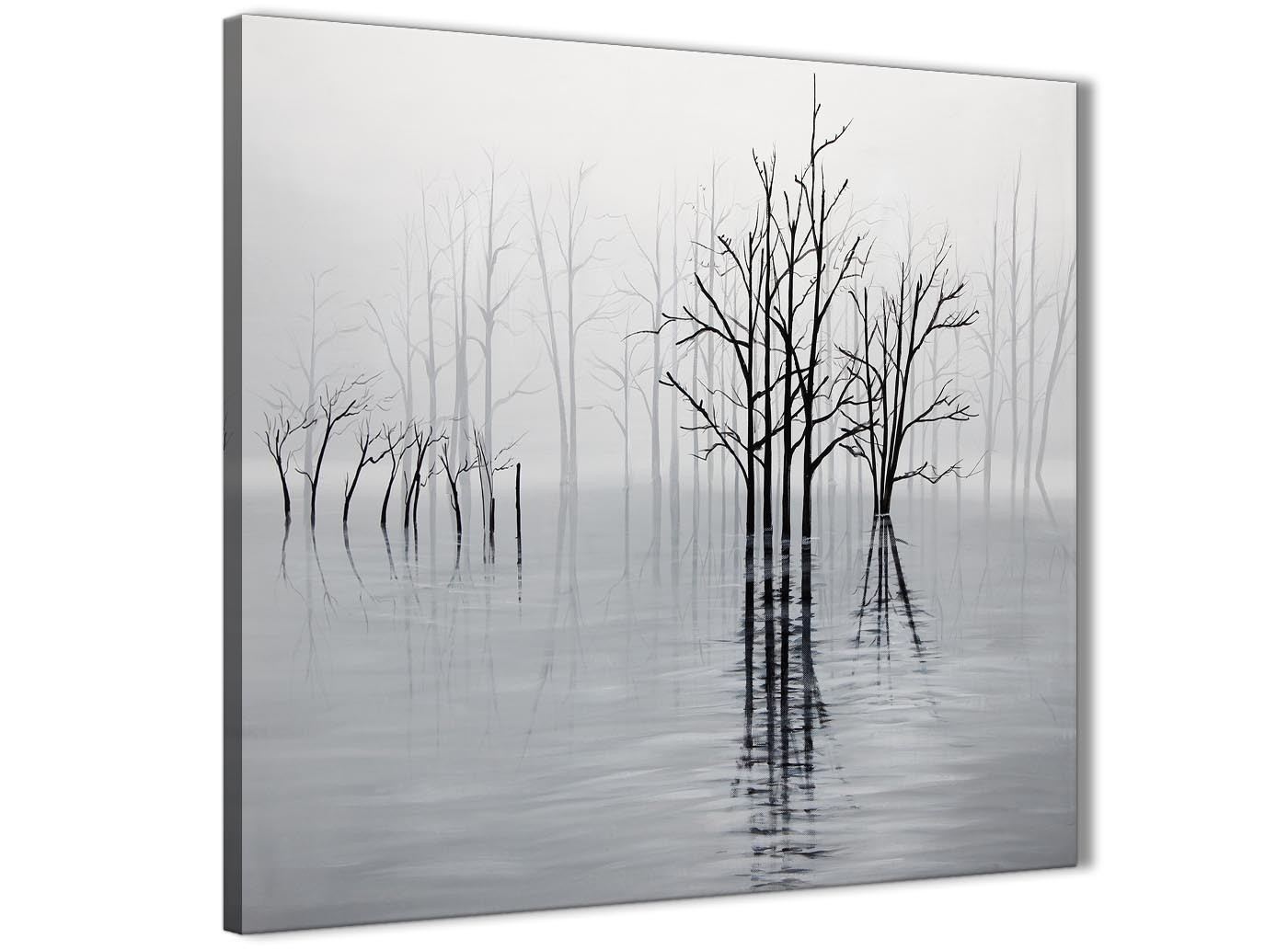 Black White Grey Tree Landscape Painting Kitchen Canvas Wall Art with Grey And White Wall Art (Image 8 of 20)