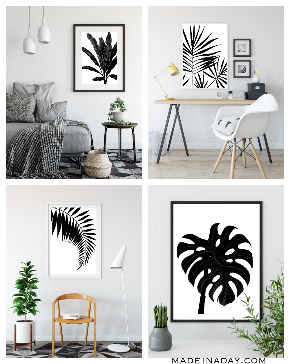 Black & White Tropical Palm Leaf Wall Art Printables • Made In A Day intended for Black and White Wall Art (Image 6 of 20)