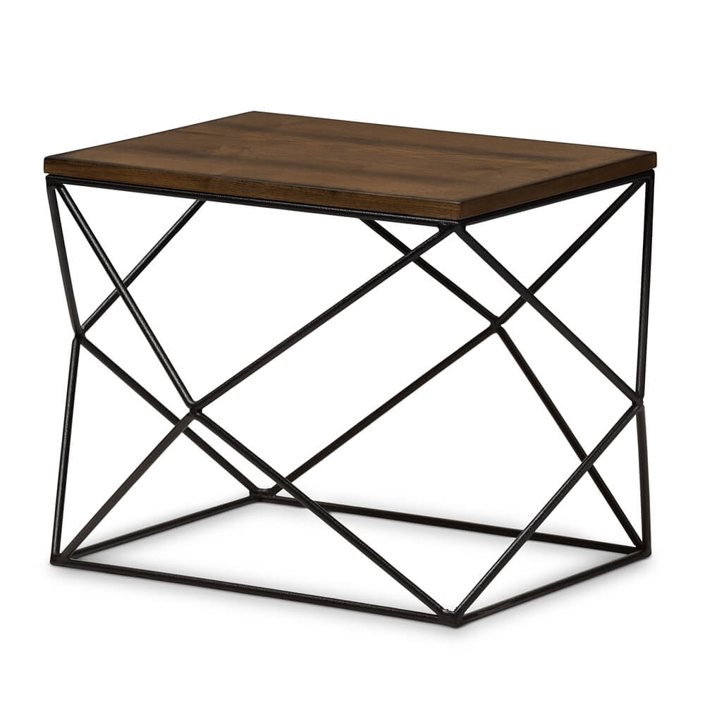Black Wire Wood Geo Side Table | Modern Furniture • Brickell Collection with regard to Black Wire Coffee Tables (Image 5 of 30)
