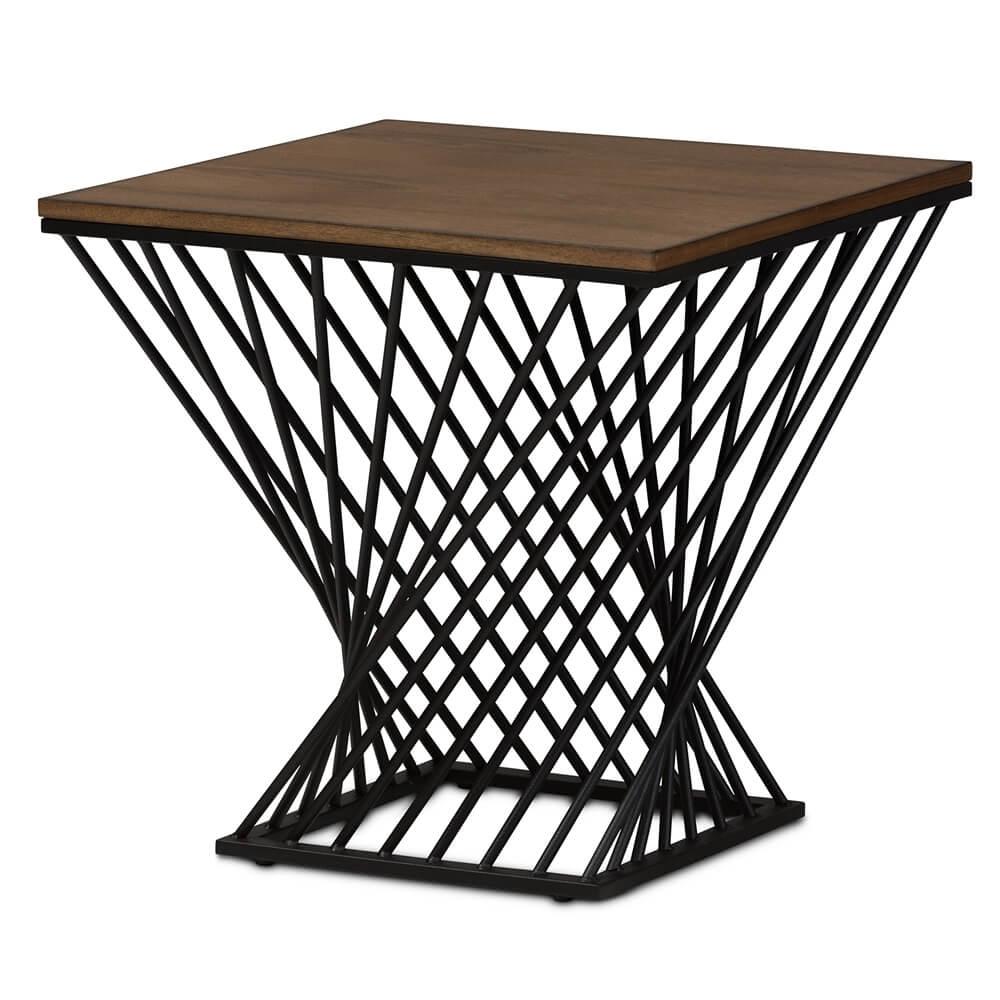 Black Wire Wood Twist Side Table | Modern Furniture • Brickell regarding Black Wire Coffee Tables (Image 6 of 30)