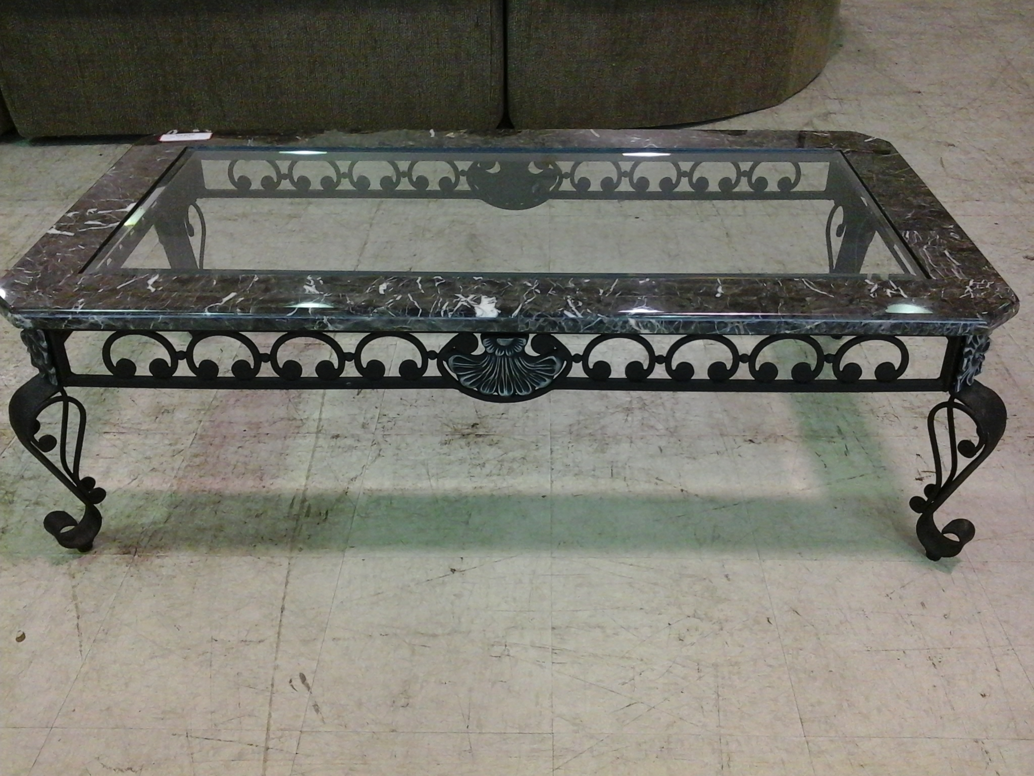 Black Wrought Iron Coffee Table With Black Marble And Glass Top Top inside Modern Marble Iron Coffee Tables (Image 6 of 30)