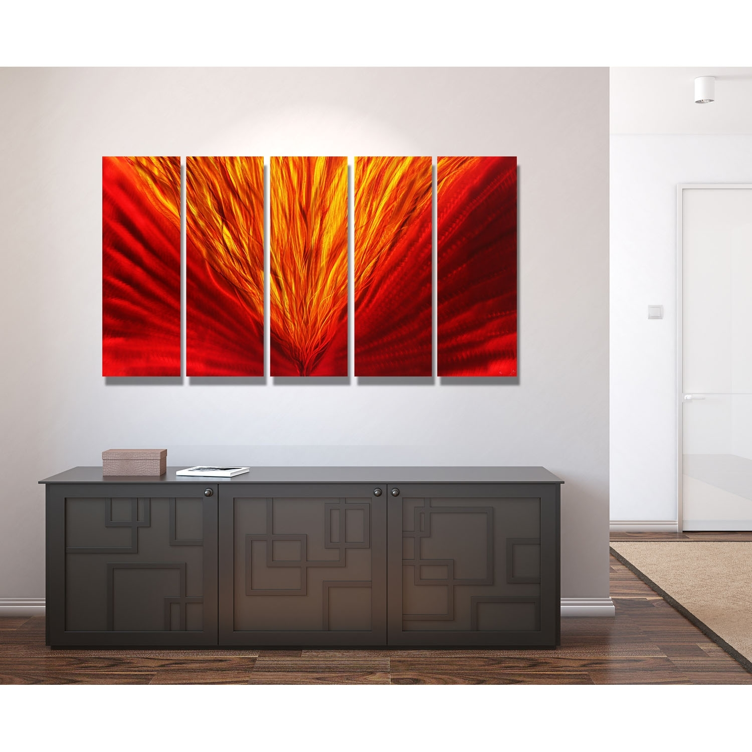 Blaze – Red And Gold Metal Wall Art – 5 Panel Wall Decorjon Inside 5 Panel Wall Art (View 8 of 20)