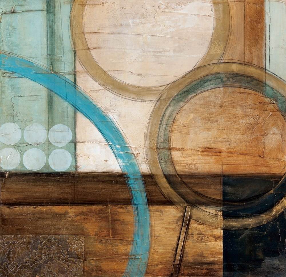 Blue And Brown Circles Modern Abstract Oil Painting Canvas Wall Art inside Abstract Oil Painting Wall Art (Image 14 of 20)