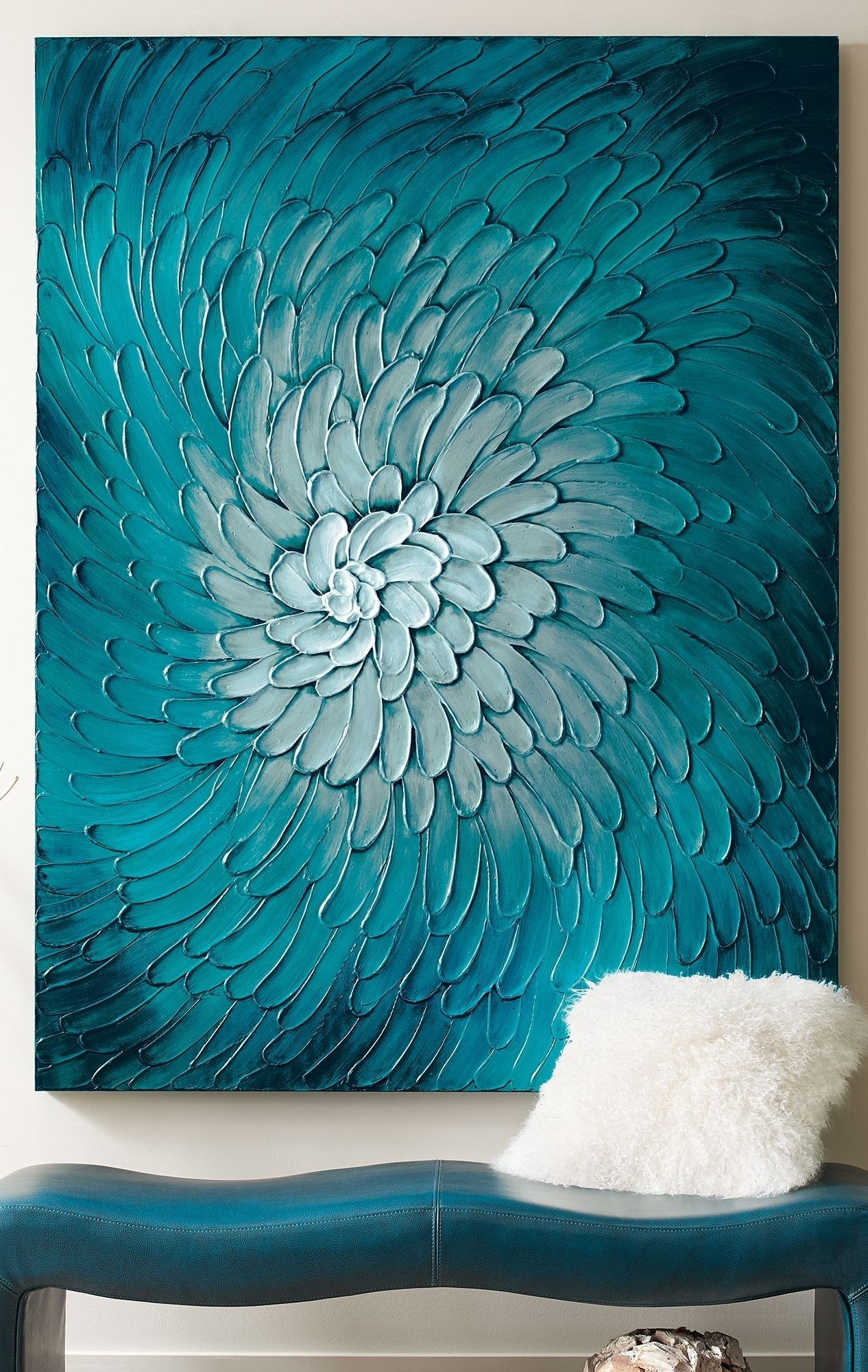 Blue Flora Artwork | Colorful Living Rooms | Pinterest | Flora in Teal Wall Art (Image 3 of 20)