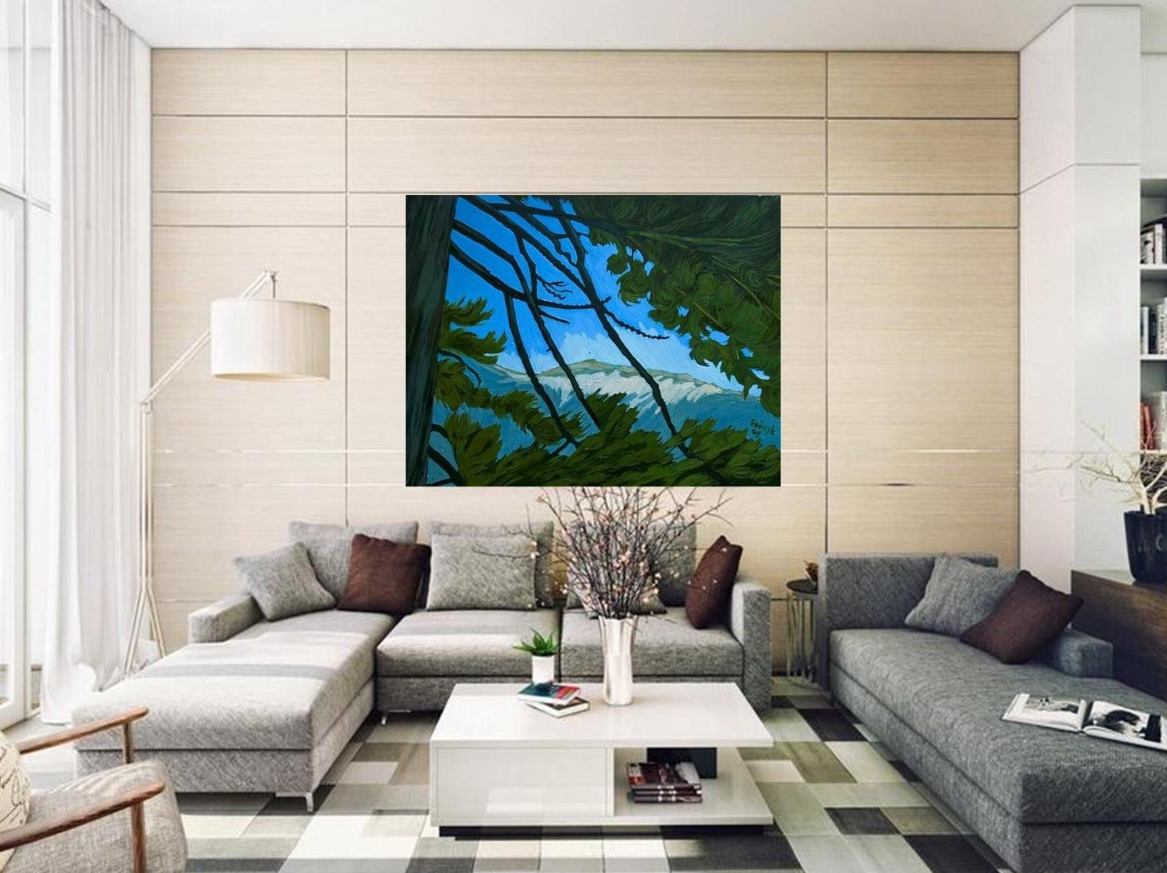 Blue Green Art, Nature Landscape, Xl Giclee Canvas, Art Print Intended For Huge Wall Art (View 7 of 20)