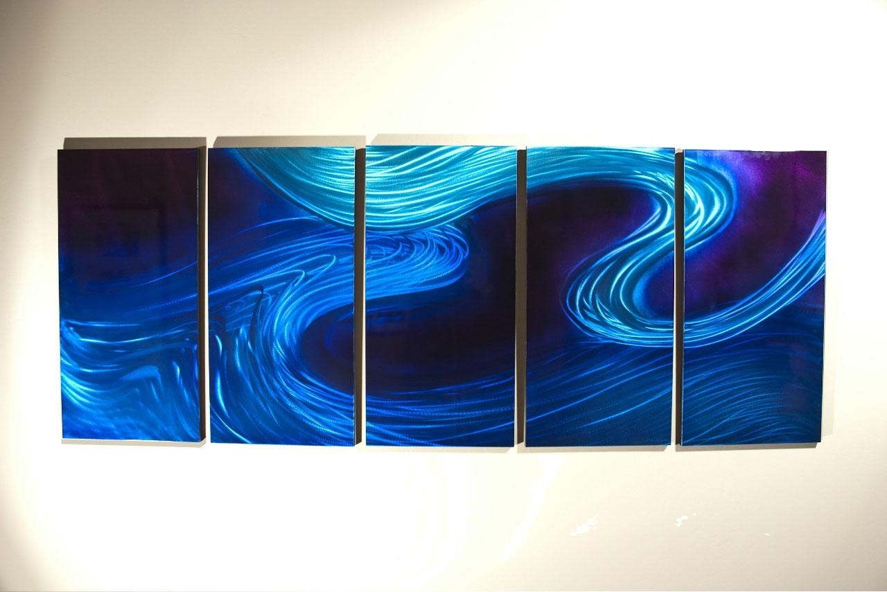 Blue Light Elegance Wave Abstract Wall Art Details Sky Wave Quantity within Abstract Wall Art (Image 9 of 20)