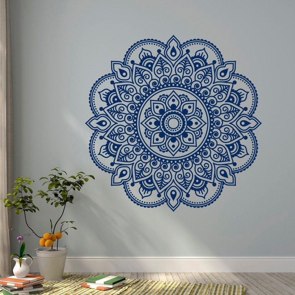 Blue Mandala Wall Art : Andrews Living Arts - How To Arrange Mandala with Mandala Wall Art (Image 6 of 20)