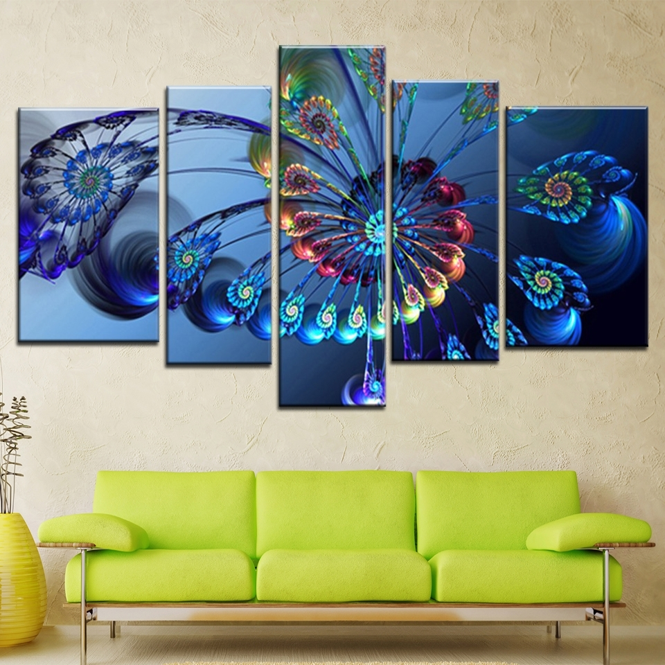 Blue Peacock Feather Modern Canvas Painting Abstract Peacock Animal For Peacock Wall Art (View 11 of 20)