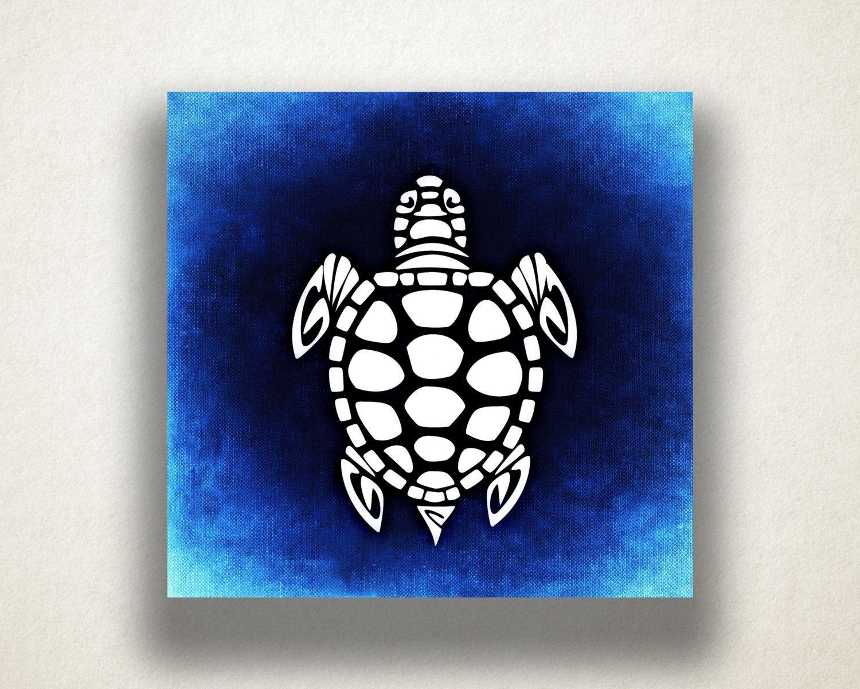 Blue Sea Turtle Canvas Art Print, Oceanlife Wall Art, Animal Canvas in Sea Turtle Canvas Wall Art (Image 6 of 20)