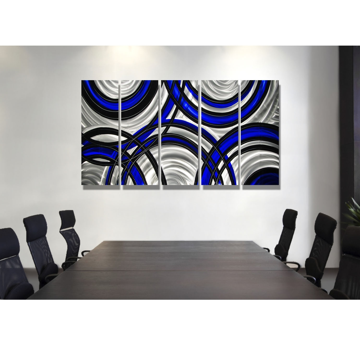 Blue Synergy - Blue, Black And Silver Metal Wall Art - 5 Panel Wall intended for Black Wall Art (Image 7 of 20)
