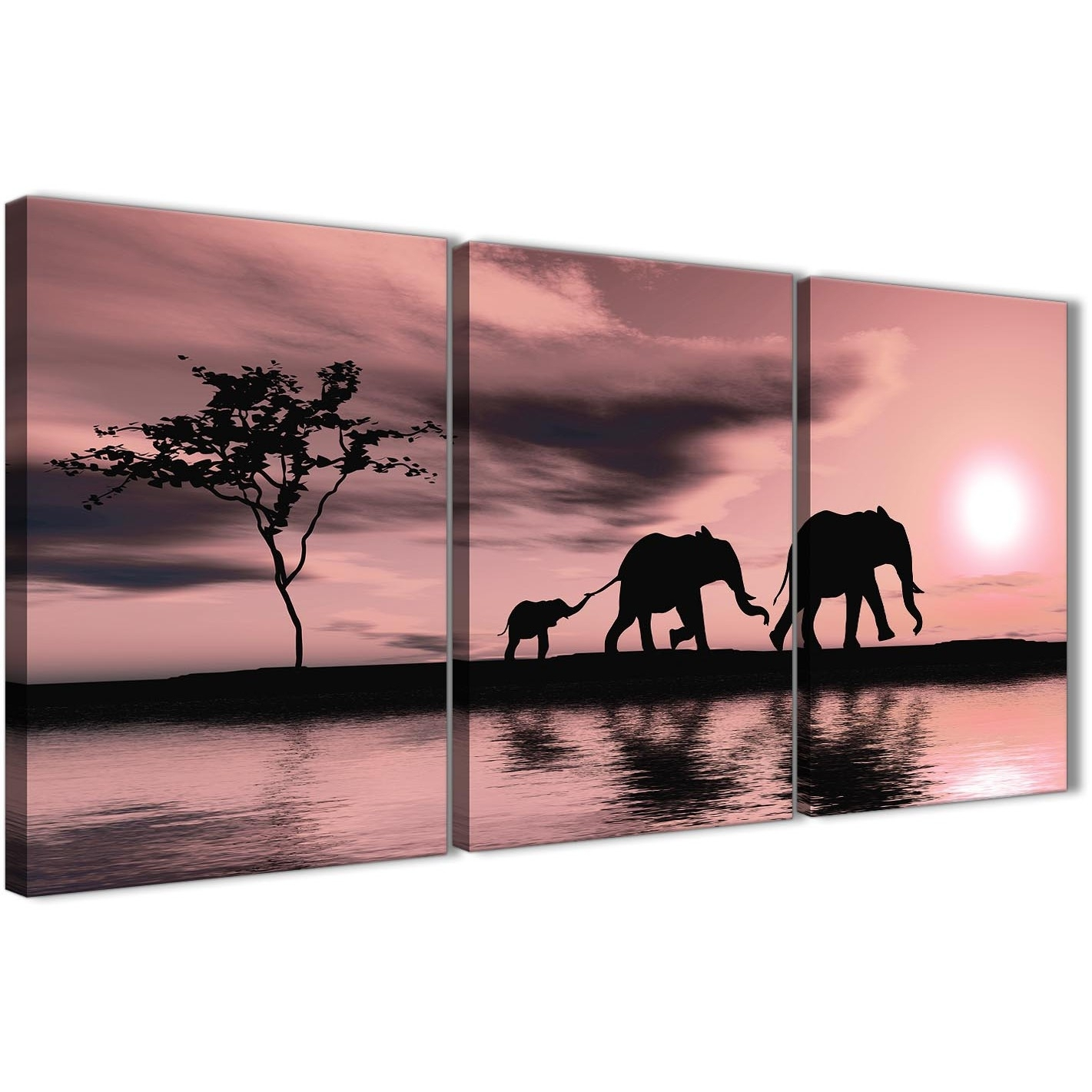 Blush Pink African Sunset Elephants Canvas Wall Art Print - Multi intended for Elephant Canvas Wall Art (Image 9 of 20)