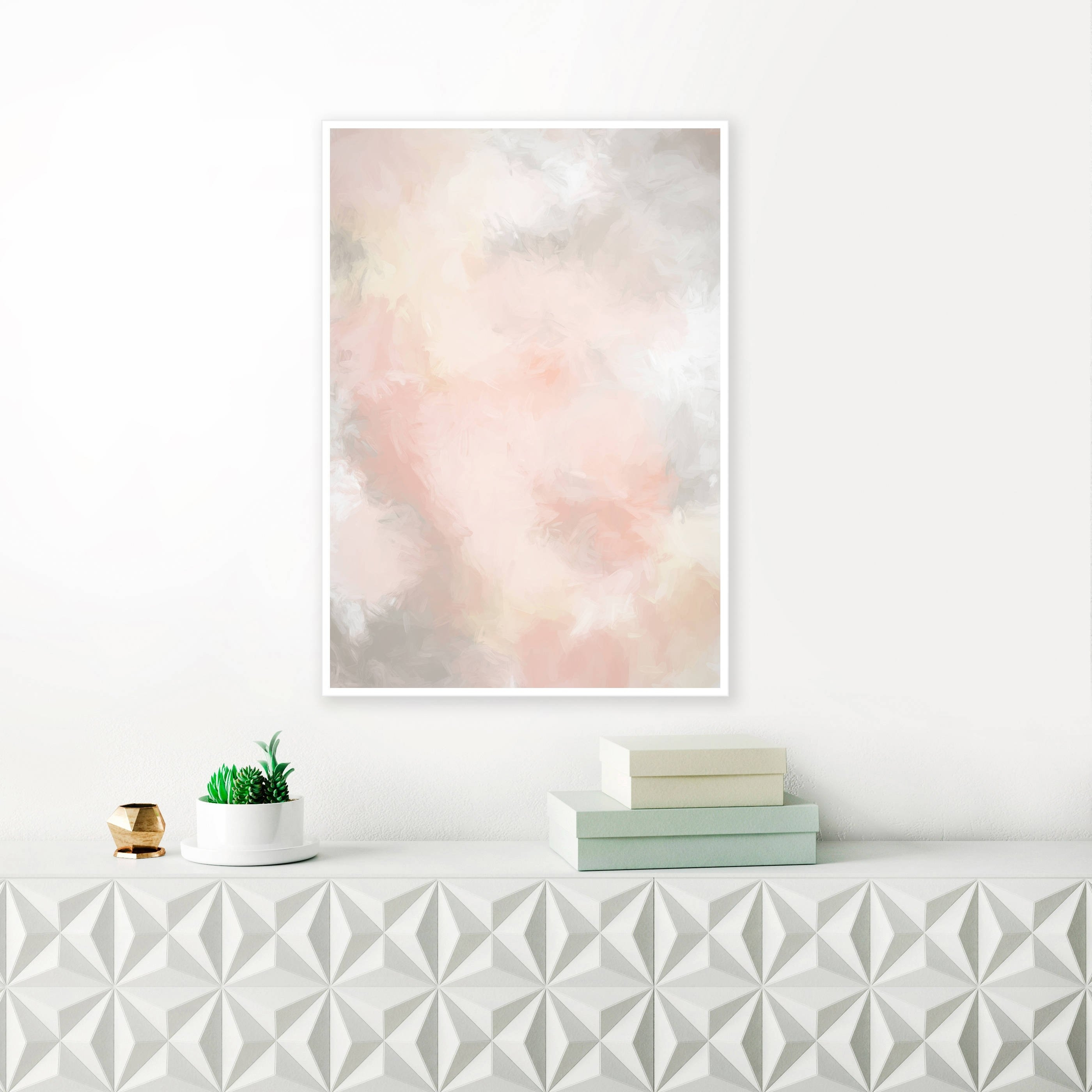 Blush Pink And Grey Painting, Pink Abstract Art, Pink Wall Art, Pale inside Pink Wall Art (Image 4 of 20)