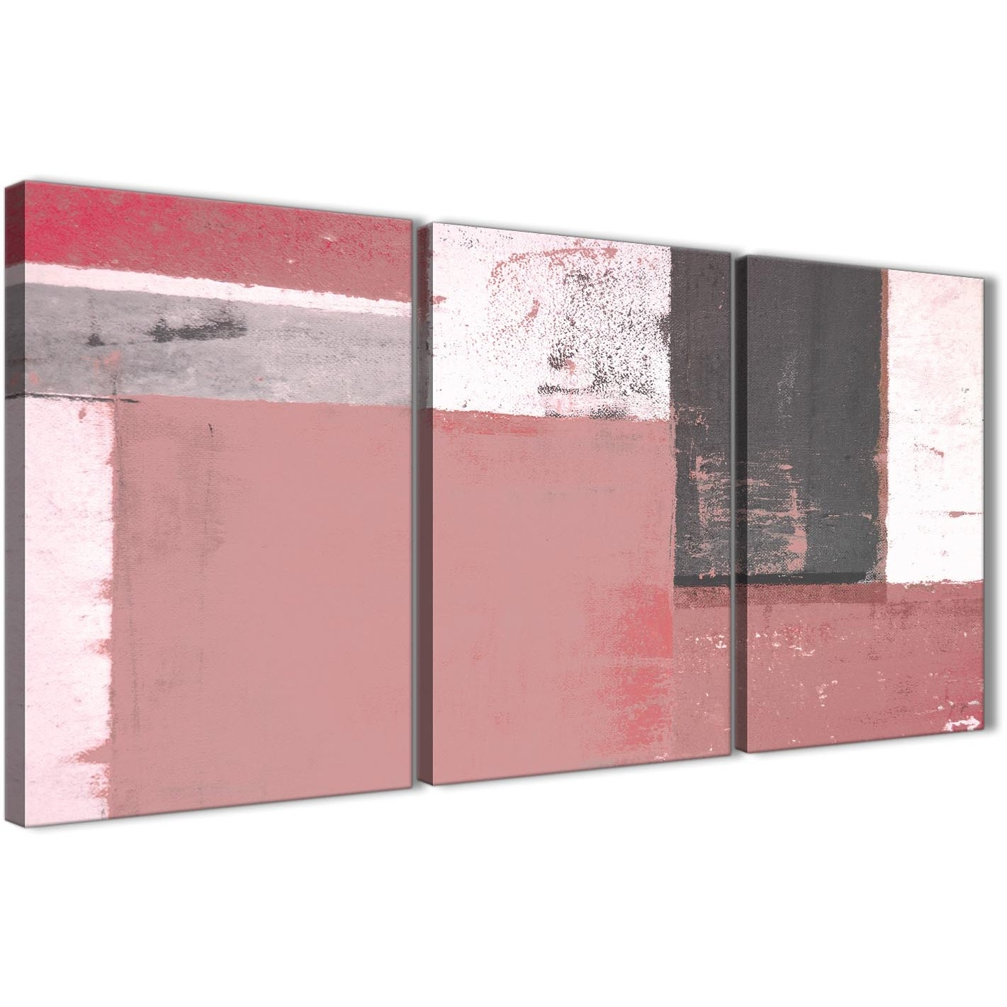 Blush Pink Grey Abstract Painting Canvas Wall Art Print - Multi 3 within Pink Wall Art (Image 5 of 20)
