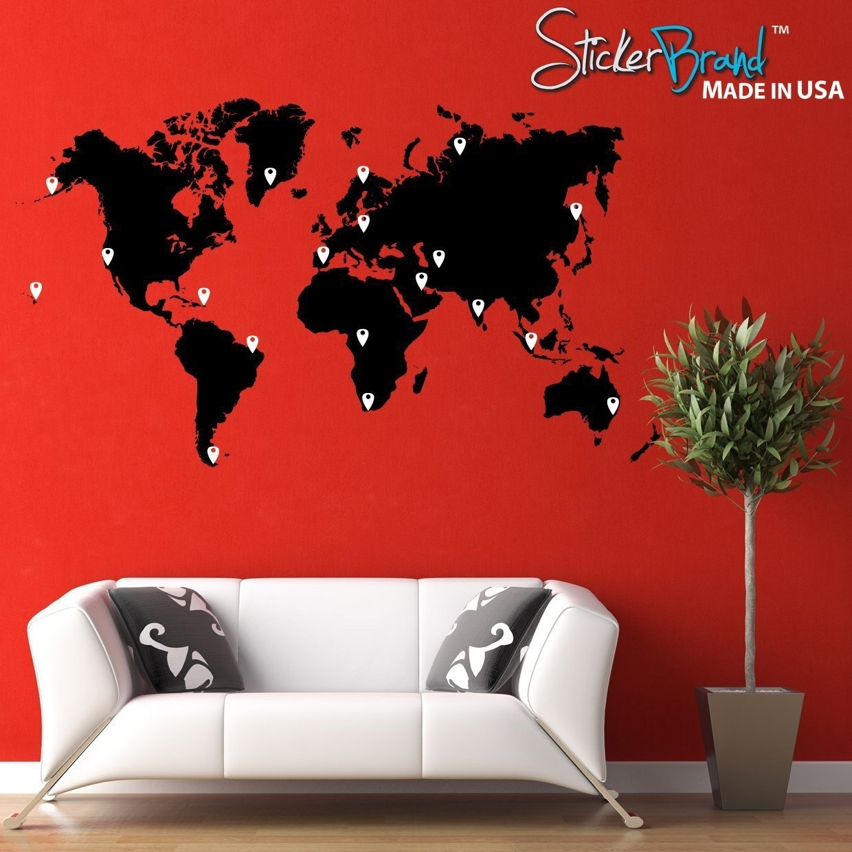 Bnett Cute Wall World Map Vinyl Wall Sticker Eprodutivo (View 3 of 20)