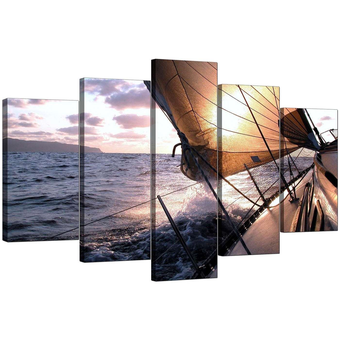 Boat Canvas Prints Uk For Your Living Room – 5 Piece Pertaining To 5 Panel Wall Art (View 9 of 20)