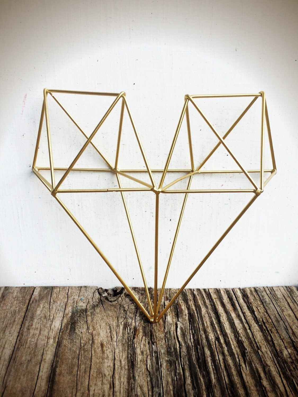 Bold 3D Geometric Metal Heart Wall Art // Metallic Gold Leaf Intended For Geometric Metal Wall Art (View 8 of 20)