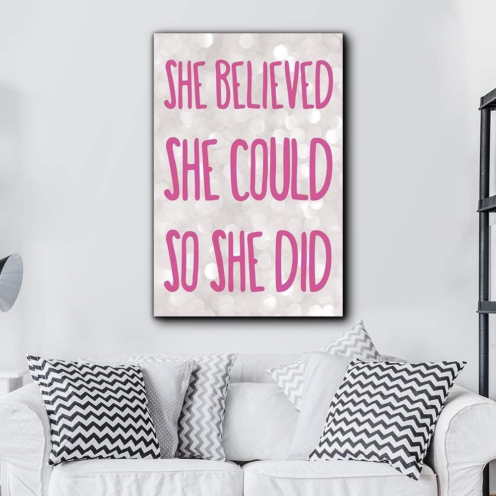 Bold Inspirational Quote She Believed She Could So She Did Pink On regarding She Believed She Could So She Did Wall Art (Image 3 of 20)