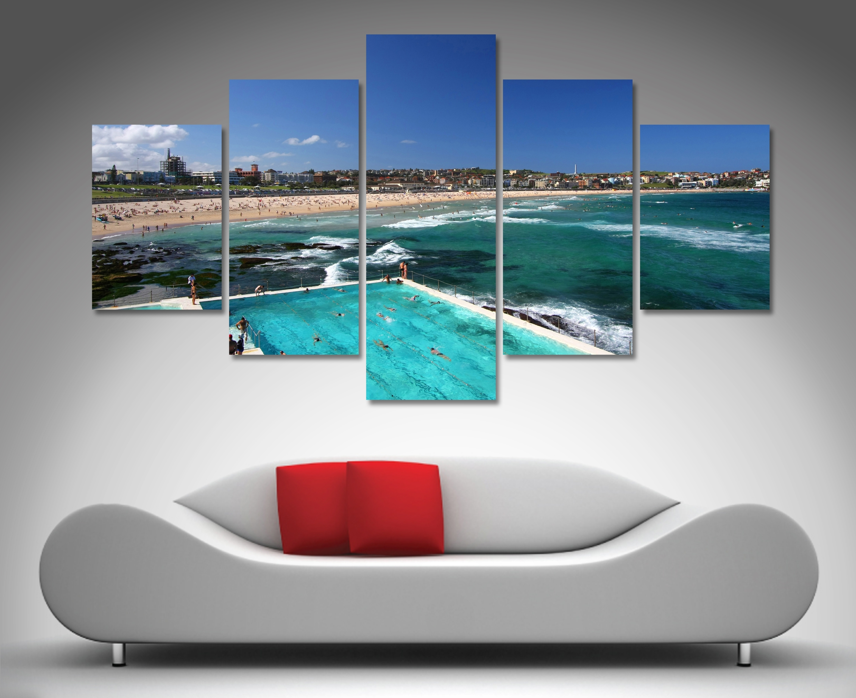 Bondi Beach 5 Panel Wall Art | Canvas Printing Australia regarding 5 Piece Canvas Wall Art (Image 11 of 20)