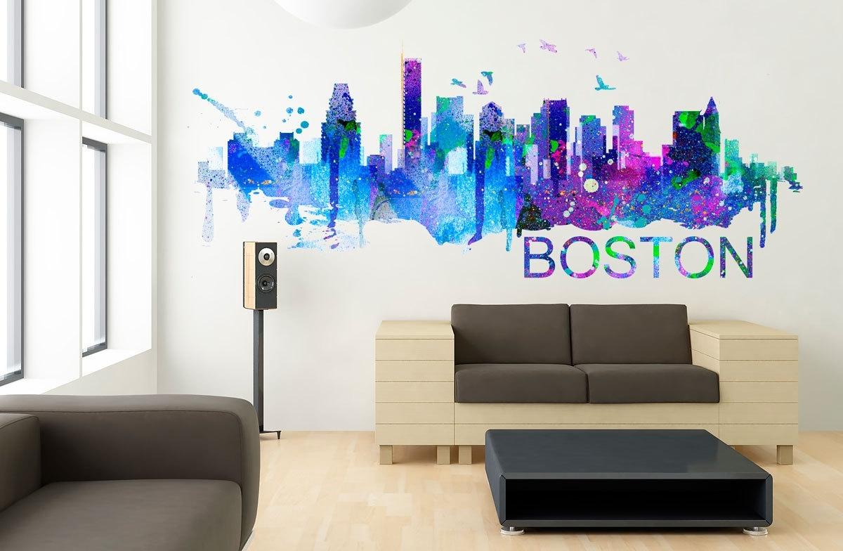 Boston Art Skyline Watercolor Decal Sticker · Moonwallstickers Pertaining To Boston Wall Art (View 12 of 20)
