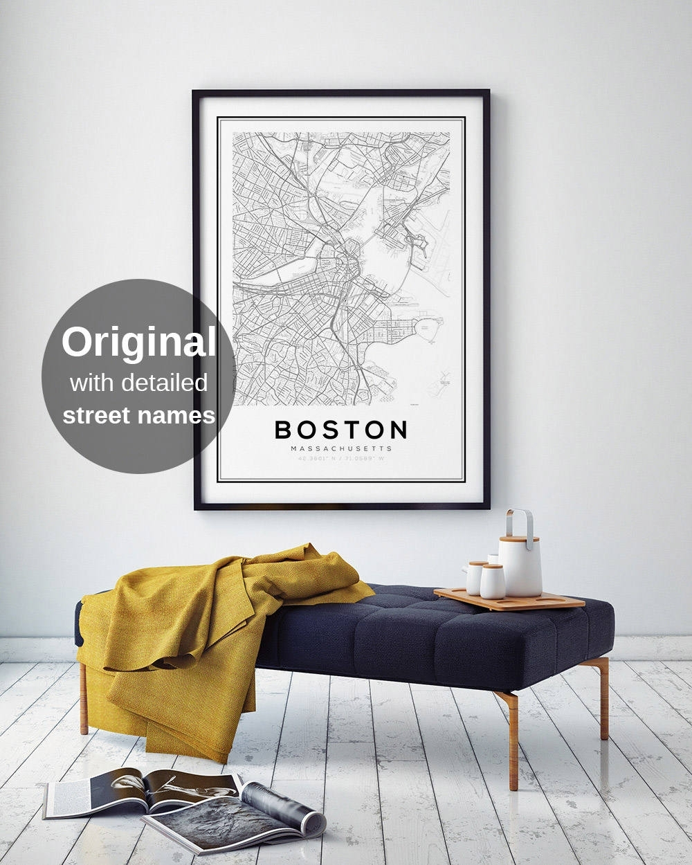 Boston Map Print, City Map Decor, City Map Wall Art, Massachusetts Intended For Boston Wall Art (View 5 of 20)