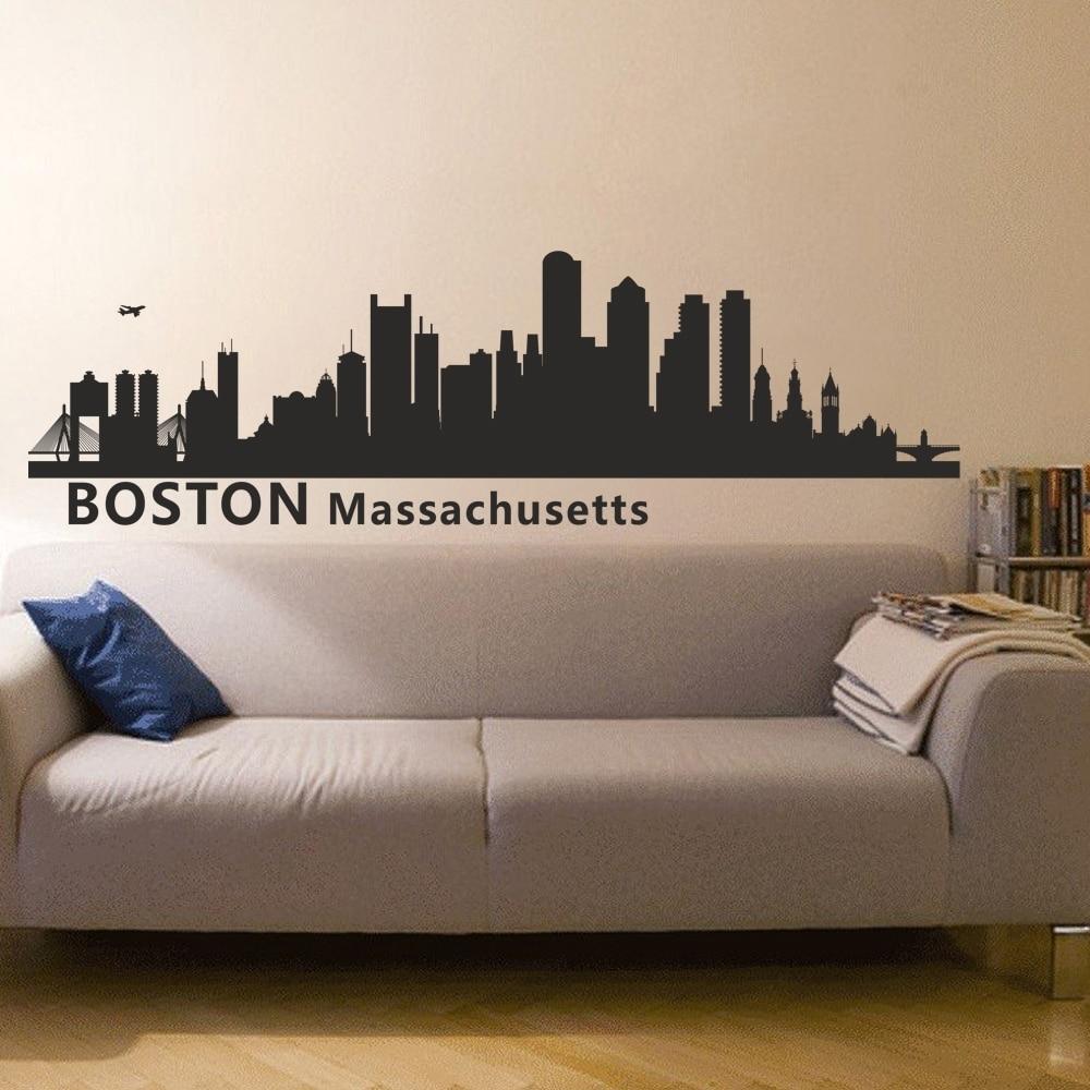 Boston Massachusetts City Skyline Silhouette Wall Decal Skyline Within Boston Wall Art (View 11 of 20)